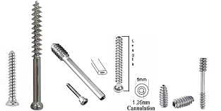 Bone Screws for 1.5mm, 2.0mm, 2.4mm, 2.7mm, 3.5mm, 4.5mm and 6.5mm Plate